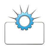 Prickles gear wheel. Gear wheel with prickles in front of blank white sign - 3d illustration Royalty Free Stock Photo