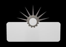 Prickles gear wheel. Gear wheel with prickles in front of blank white sign - 3d illustration Stock Photos