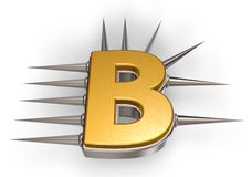 Prickles letter b. Letter b with metal prickles on white background - 3d illustration Stock Photos