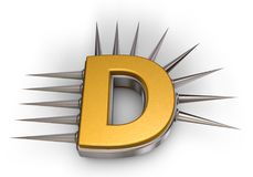 Prickles letter d. Letter d with metal prickles on white background - 3d illustration Stock Photography