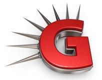 Prickles letter g. Letter g with metal prickles on white background - 3d illustration Stock Photo