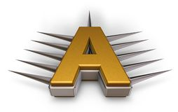 Prickles letter a. Letter a with metal prickles on white background - 3d illustration Royalty Free Stock Photos