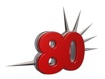 Prickles number. Number eighty with prickles on white background - 3d illustration Stock Images