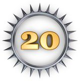 Prickles number. Number twenty in ring with spikes on white background - 3d illustration Royalty Free Stock Photo