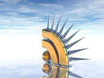 Prickles rss symbol. Rss symbol with prickles under cloudy blue sky - 3d illustration Royalty Free Stock Images