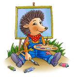Prickly hedgehog. Artist holds a brush and a palette Royalty Free Stock Photos