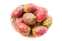 Prickly pear fruits on the wicker plate closeup Royalty Free Stock Photography