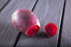 Prickly pear over wooden table Royalty Free Stock Photo