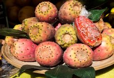 Prickly Pear Stack on a Plate on sale. Cactus Fruit. Mediterranean Fruit.  stock photography