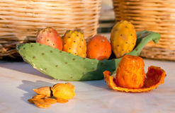 Prickly Pears. Close-up of ripe prickly pears on cactus in the table stock images