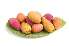 Prickly pears. With leaf  isolated on white Royalty Free Stock Photos