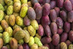 Prickly pears on the market. In Cusco, Peru stock photo