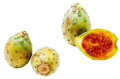 Prickly pears. (Opuntia ficus-indica cactus fruits) isolated on white background royalty free stock image