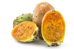 Prickly pears, opuntia, indian fig. Three prickly pears, opuntia, indian fig, ficus-indica fruit, one cutted on half, isolated on a white background stock images