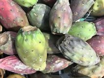 Prickly pears. On a stall for sale in a supermarket stock photography