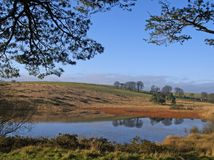 Priddy Pond. On Priddy moor in Somerset England stock photo