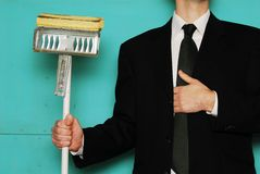 Pride. Business man dedicated to cleaning up the business Royalty Free Stock Image
