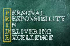 Pride acronym. Conceptual PRIDE acronym written on black chalkboard blackboard. personal responsibility in delivering excellence stock photo