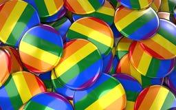 Pride Badges Background gai - pile des boutons de drapeau d'arc-en-ciel Images stock