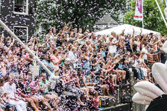 Pride Canal Parade Amsterdam alegre 2014 Fotografia de Stock Royalty Free