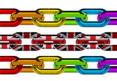 Pride Chain. Chain links in the colours of the Gay Pride flag and the UK flag Stock Photo