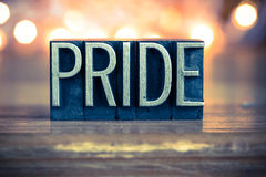 Pride Concept Metal Letterpress Type Stockfotografie