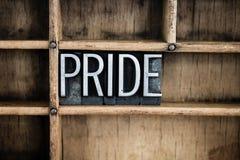 Pride Concept Metal Letterpress Word en cajón imagen de archivo