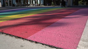 Pride Crosswalk dolly shot, Vancouver BC 4K, UHD stock video footage