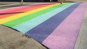 Pride Crosswalk Pedestrian Vancouver stock video footage