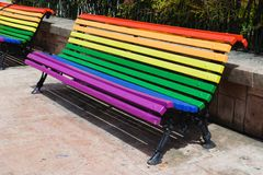 Pride day concept. Wood from a bench painted in rainbow colors. Pray day concept. Wood from a bench painted in rainbow colors royalty free stock photo