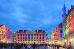 Pride Festival at the Grand Place, Brussels, Begium. The Grand Place of Brussels, Belgium decorated with colorful lights during the Pride Festival stock photo
