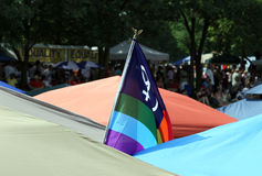 Pride Flag between Festival Tenths at Indy Pride Festival Stock Photography