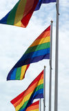 Pride flags. Gay pride flags in the air Stock Photography