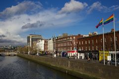 Pride Flags Flying Over Aston Quay, Dublin Stock Images