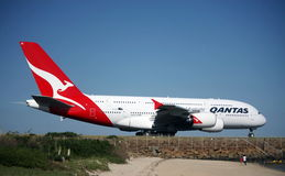 Pride of the Fleet, Qantas Airbus A380. The Qantas Airbus A380 departing Sydney Airport, 8 February 2009 Royalty Free Stock Photo