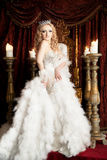 Pride gorgeous queen with crown and throne. Palace Royalty Free Stock Photos