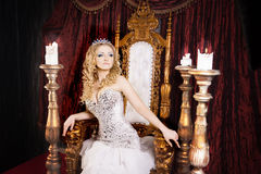 Free Pride Gorgeous Queen With Crown And Throne. Palace Stock Photo - 82480390