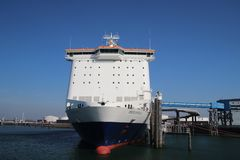 Pride of Hull, ferry in the Europoort harbor in the port of Rotterdam, heading to Hull in England.  stock photo