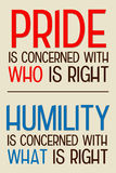 Pride humility. The difference between pride and humility Stock Images