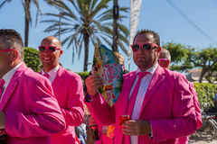 Pride of the lesbian, gay, bisexual and transgender People. SITGES - JUNY 19, 2016: Pride of the lesbian, gay, bisexual and transgender People in the streets of stock photo