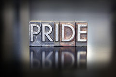 Pride Letterpress. The word PRIDE written in vintage lead letterpress type Stock Images
