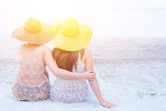 Pride and the LGBTQ+ on summer beach. Bisexual and homosexual couple royalty free stock images