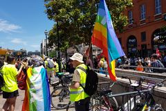 Pride March and demonstration of yellow vests stock photos