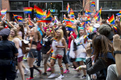 Pride Parade Crowd Greenwich Village gai NYC Photographie stock