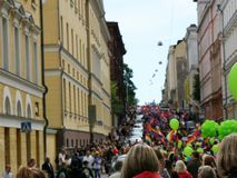 The Pride Parade in Helsinki royalty free stock photo