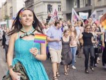 Pride Parade 2015 il 20 giugno 2015 a Riga, Lettonia Fotografia Stock Libera da Diritti