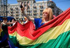 Pride Parade In Kiev Stock Foto's