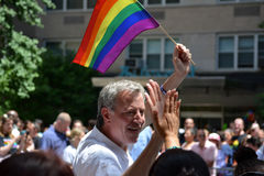 Pride parade. Mayor Bill de Blasio taking part in the New York City Pride Parade and Festival royalty free stock image