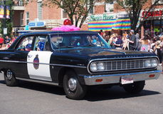 Pride Parade With Old Police Car Royalty Free Stock Images