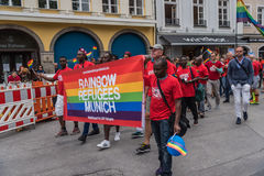 Pride parade from Rainbow Refugees Munich on the Christopher Street Day. Munich, Germany - 15 July 2017: Pride parade from Rainbow Refugees Munich on the Stock Images